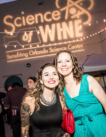 Two woman at science of wine event