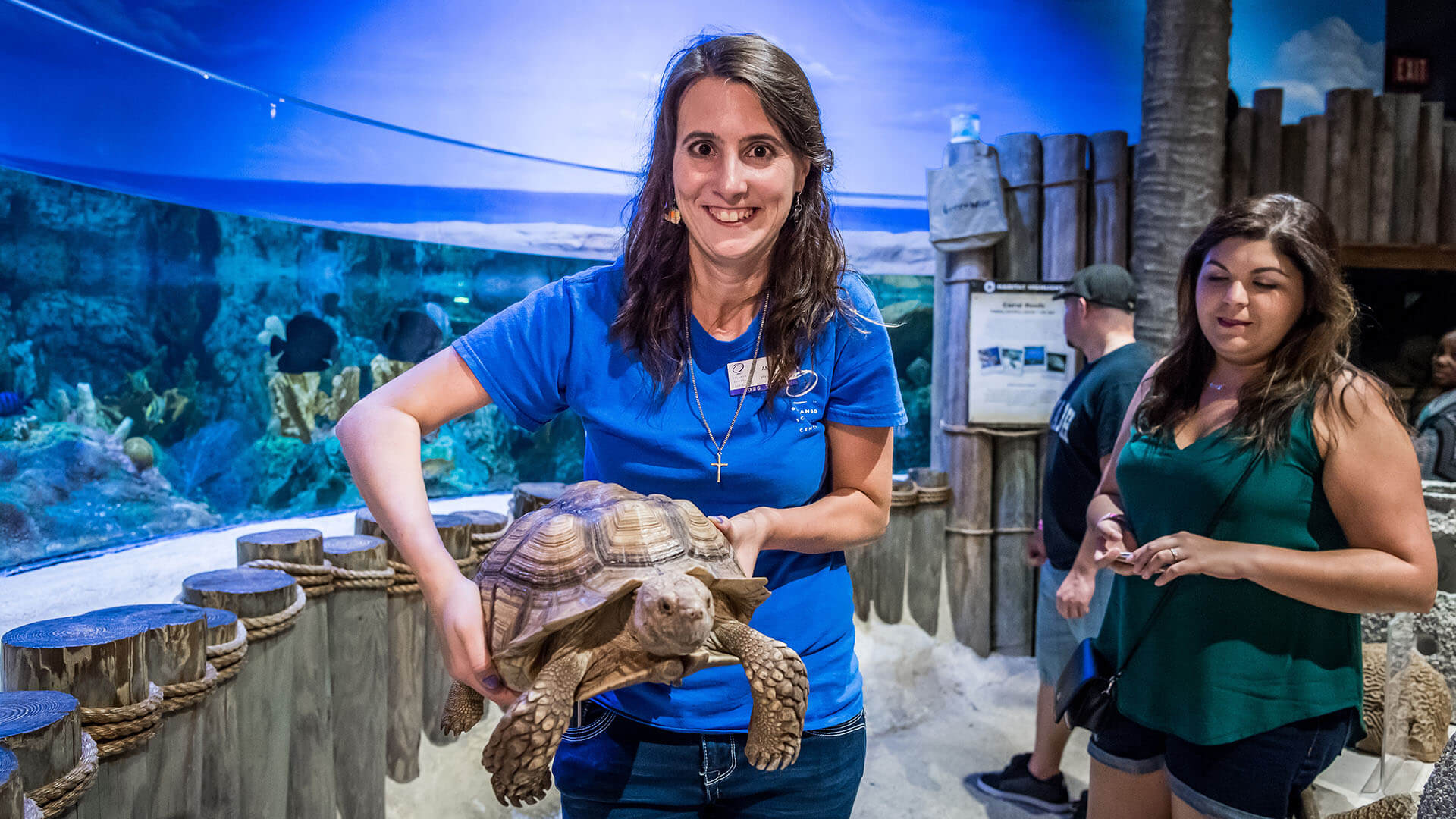 Adult volunteer in the NatureWorks exhibit holding a tortoise.