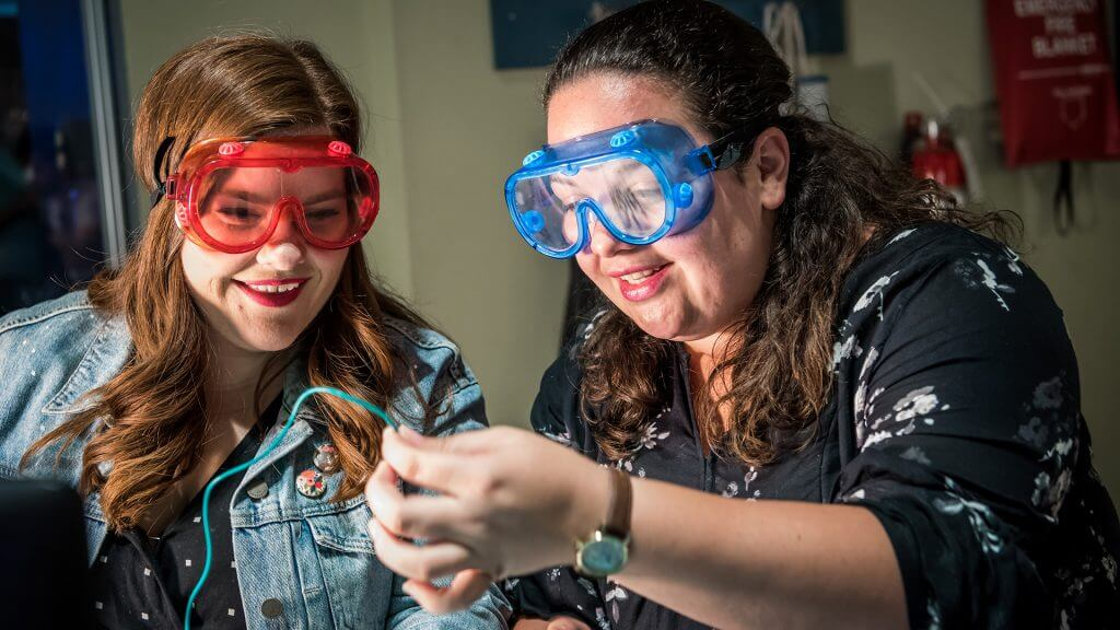 Friends with lab goggles doing an experiment in Dr. Dare's Lab.
