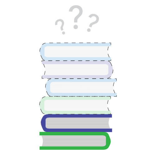 Stack of books illustration with 66% missing.