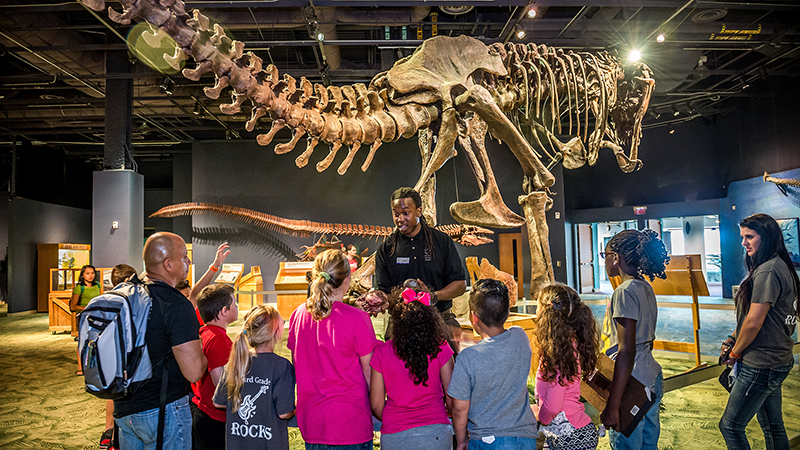 A Science Center educator teaches a field trip group in the DinoDigs exhibit.