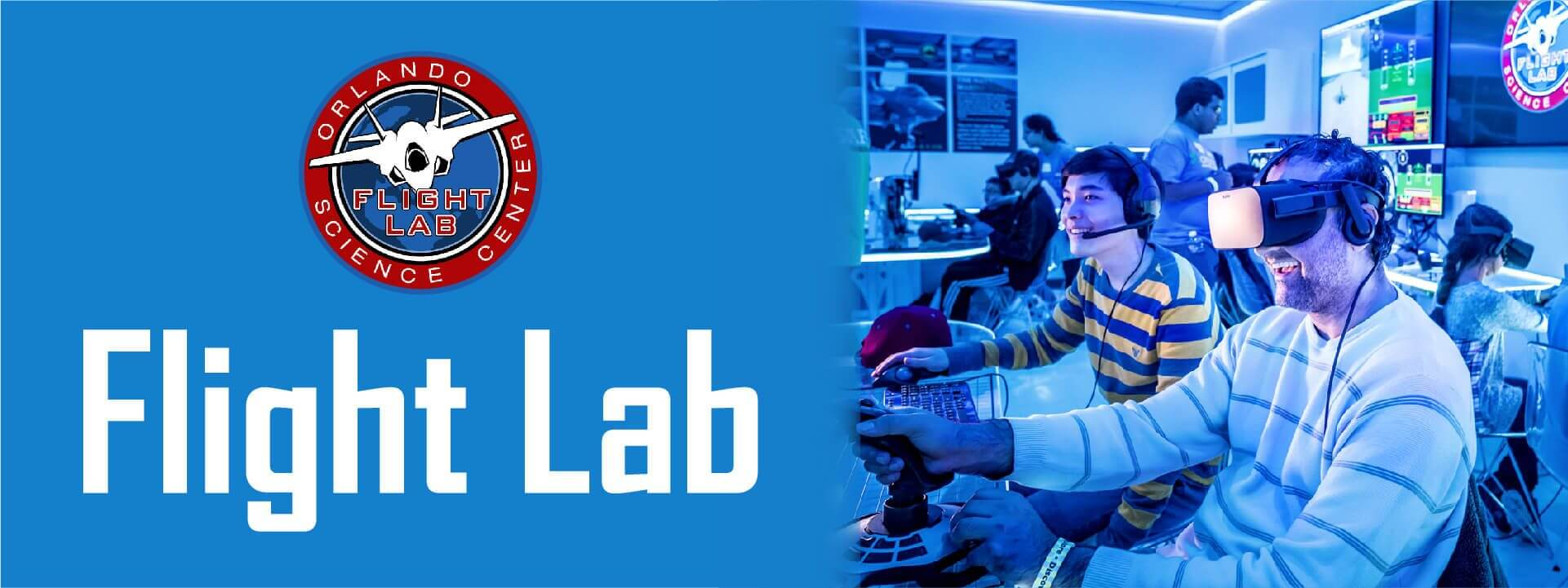 Flight Lab logo and photo of two seated guys using computer flight simulation.