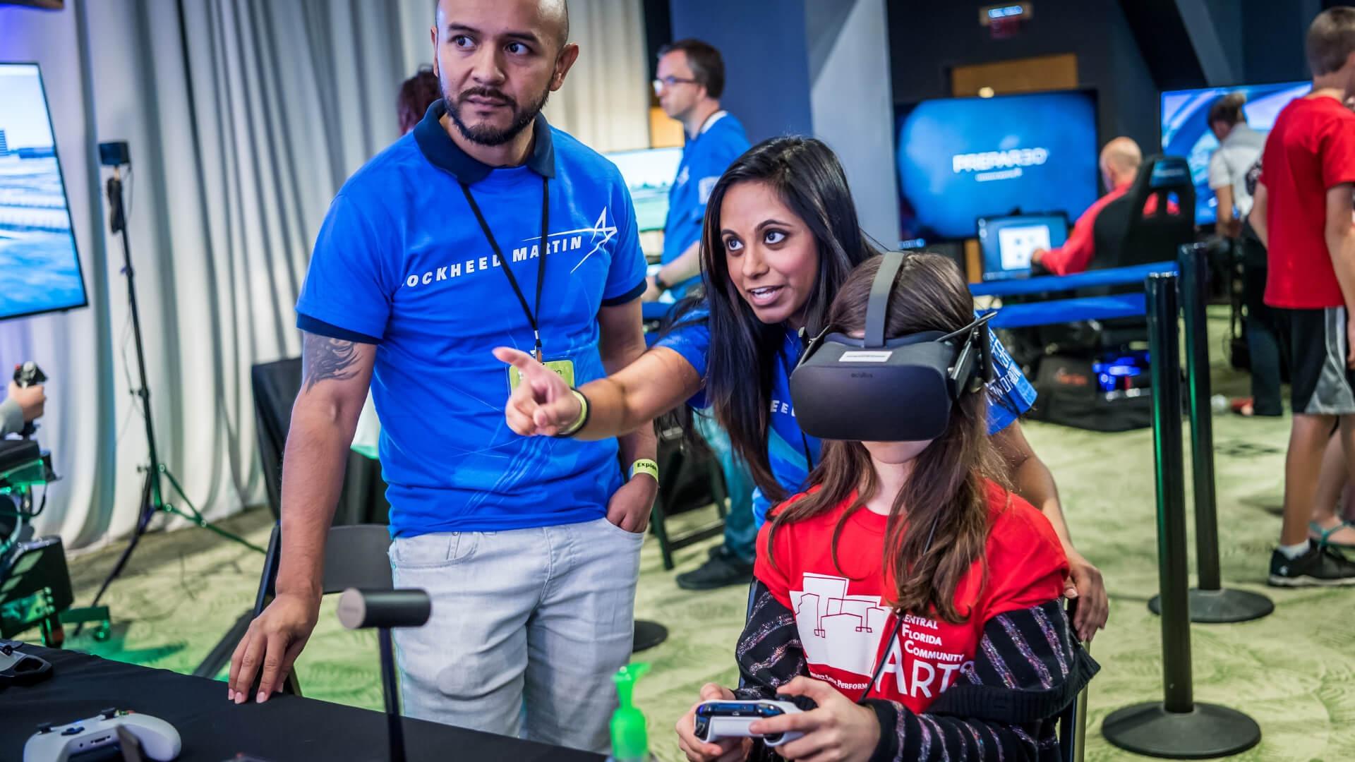 Girl playing a virtual reality game