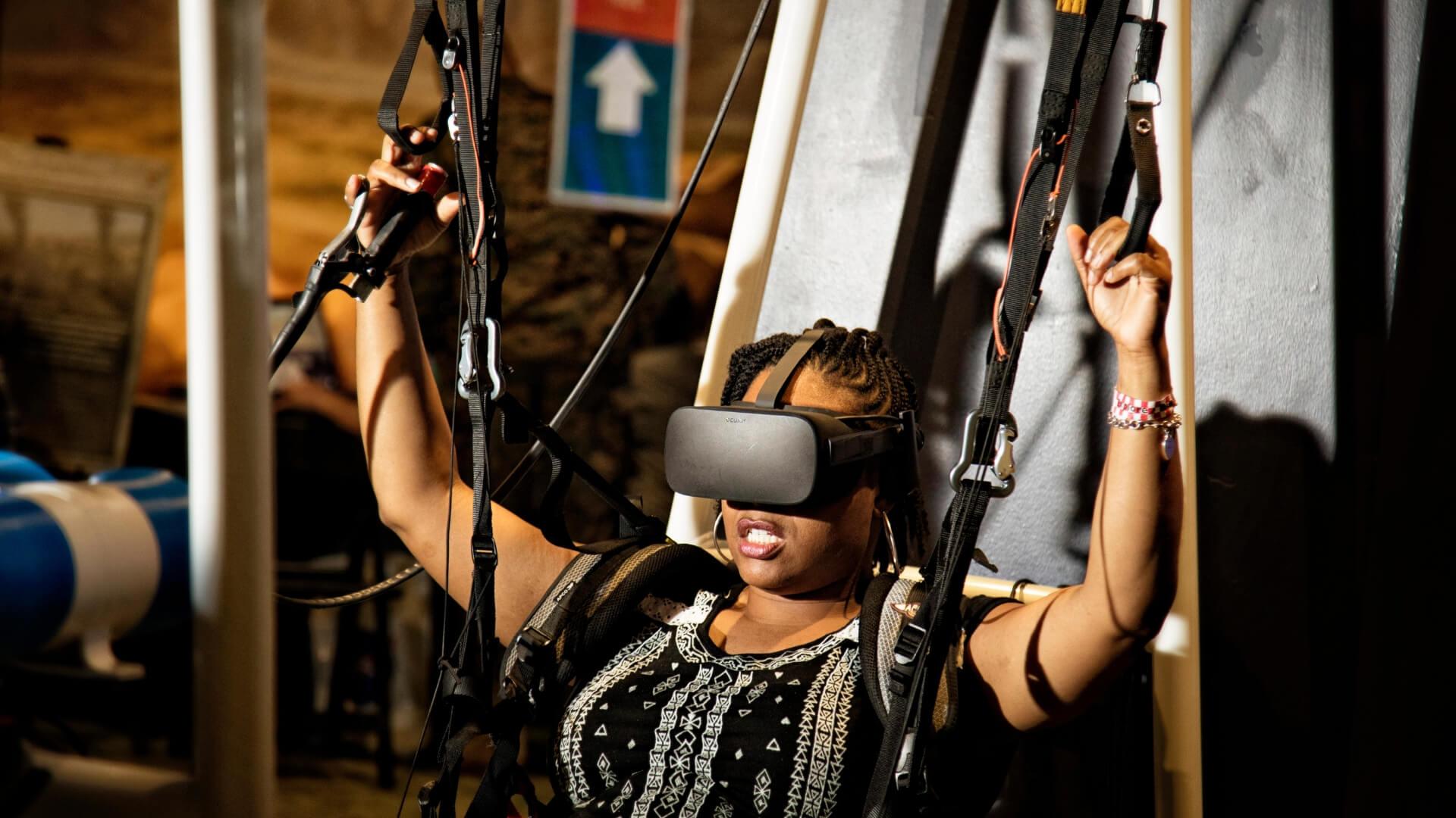 Person uses virtual reality parachute
