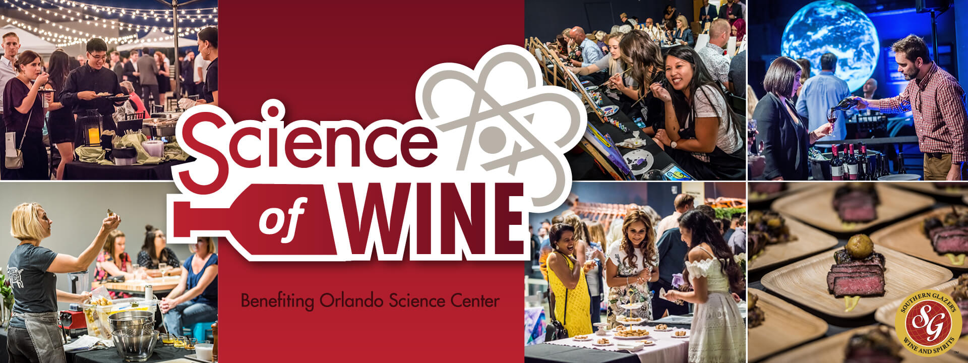 Science of Wine logo and photos of guests enjoying the event.