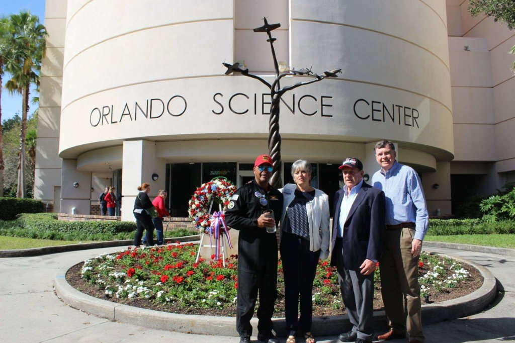 Photo of Red Tails Monument outside Orlando Science Center.