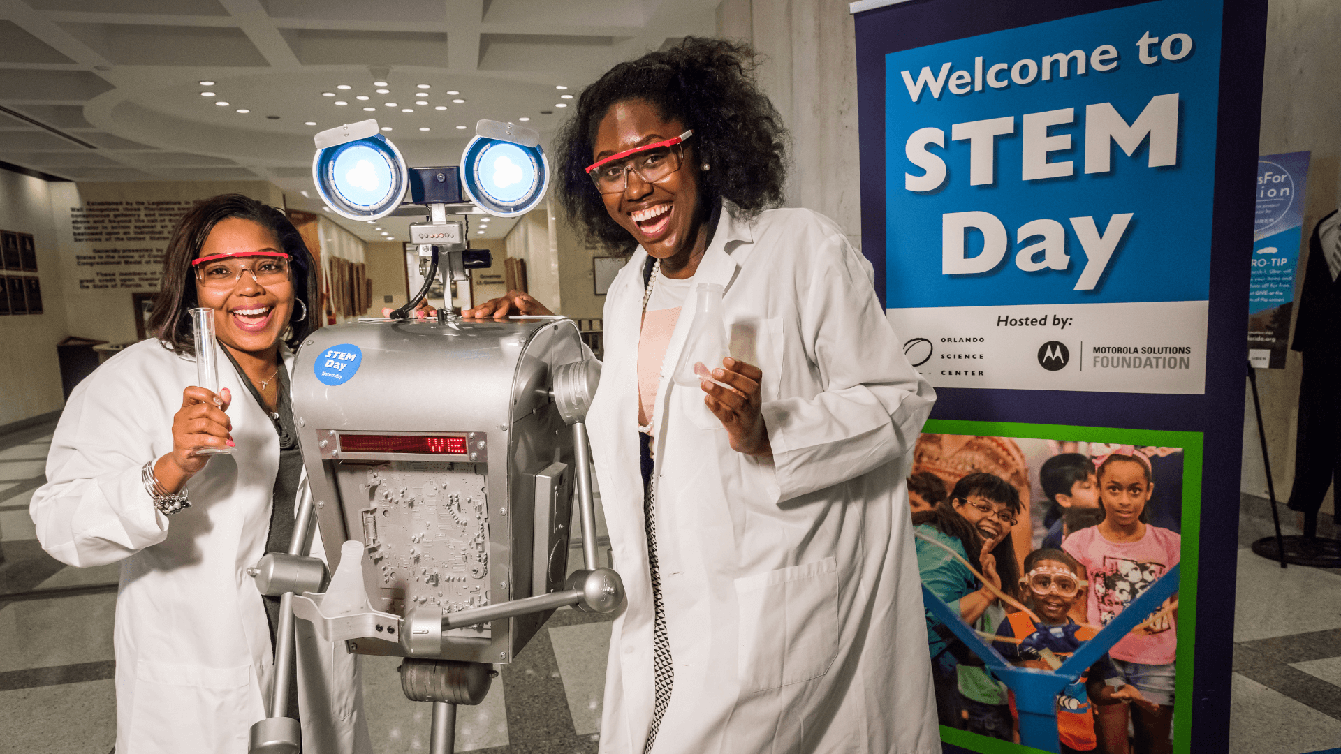 Two women during welcome to stem day event