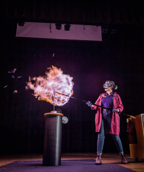 Woman doing an experience with fire