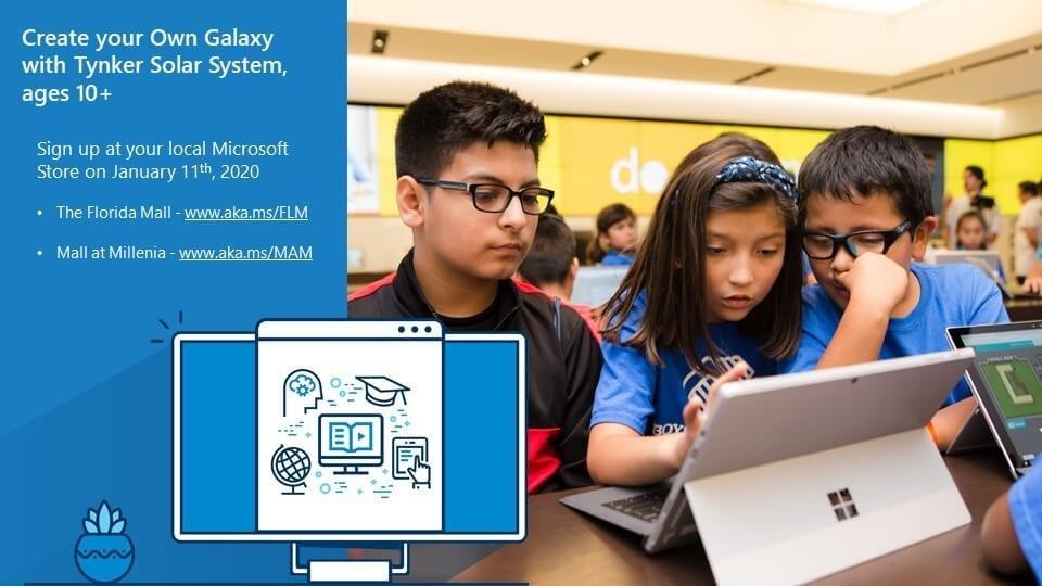 Image of kids working on laptop together during Microsoft-Tynker Solar System Workshop