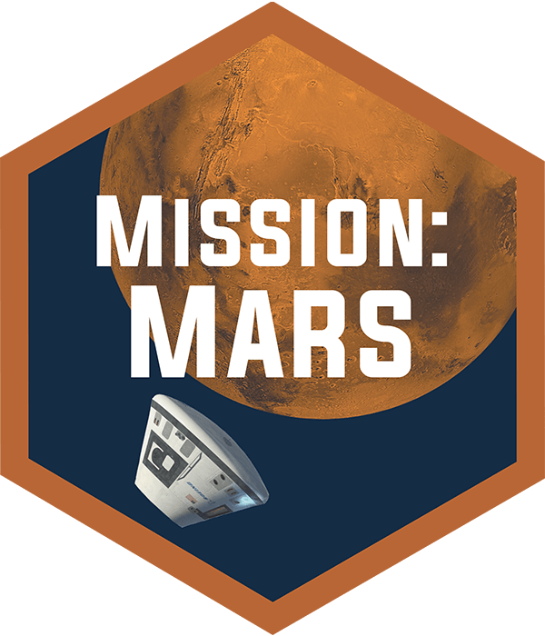 Mission: Mars hexagonal badge showing planet Mars and Orion space capsule.