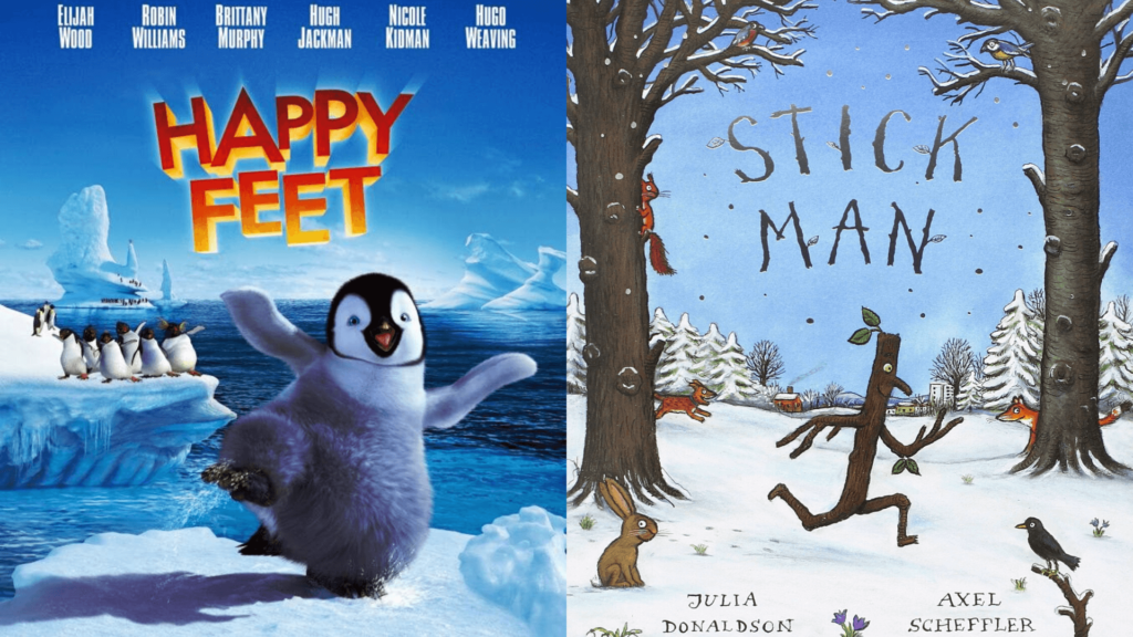 Graphic with 2019 Holiday Film posters Happy Feet and Stick Man