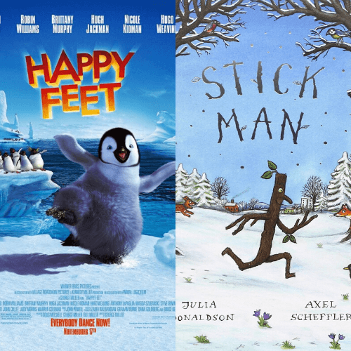 Happy Feet and Stick Man Movie Posters