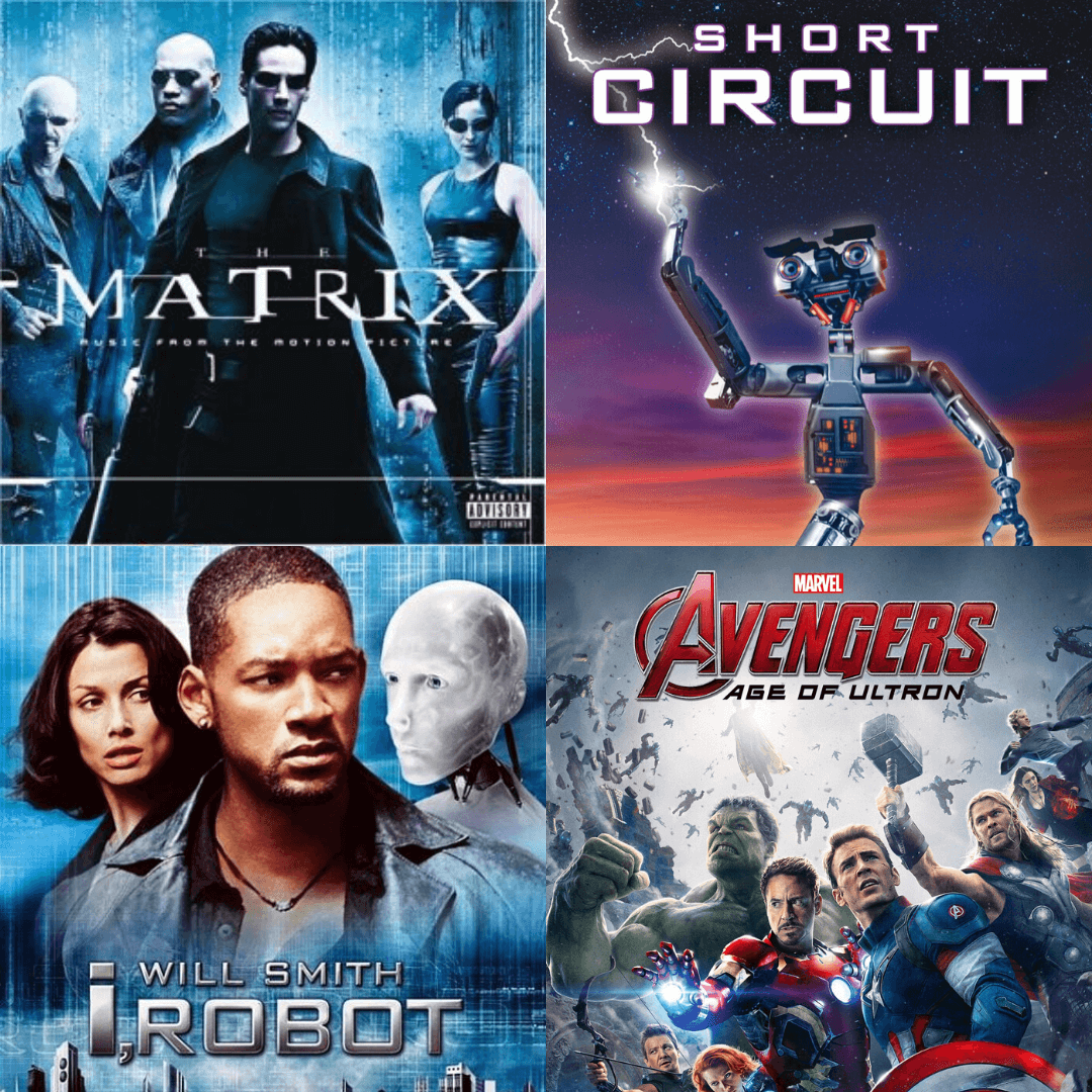 The Matrix, Short Circuit, I Robot, Avengers Age of Ultron Movie posters