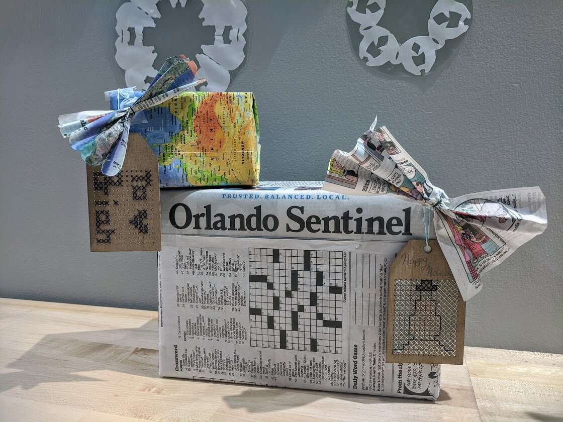 presents wrapped in newspaper