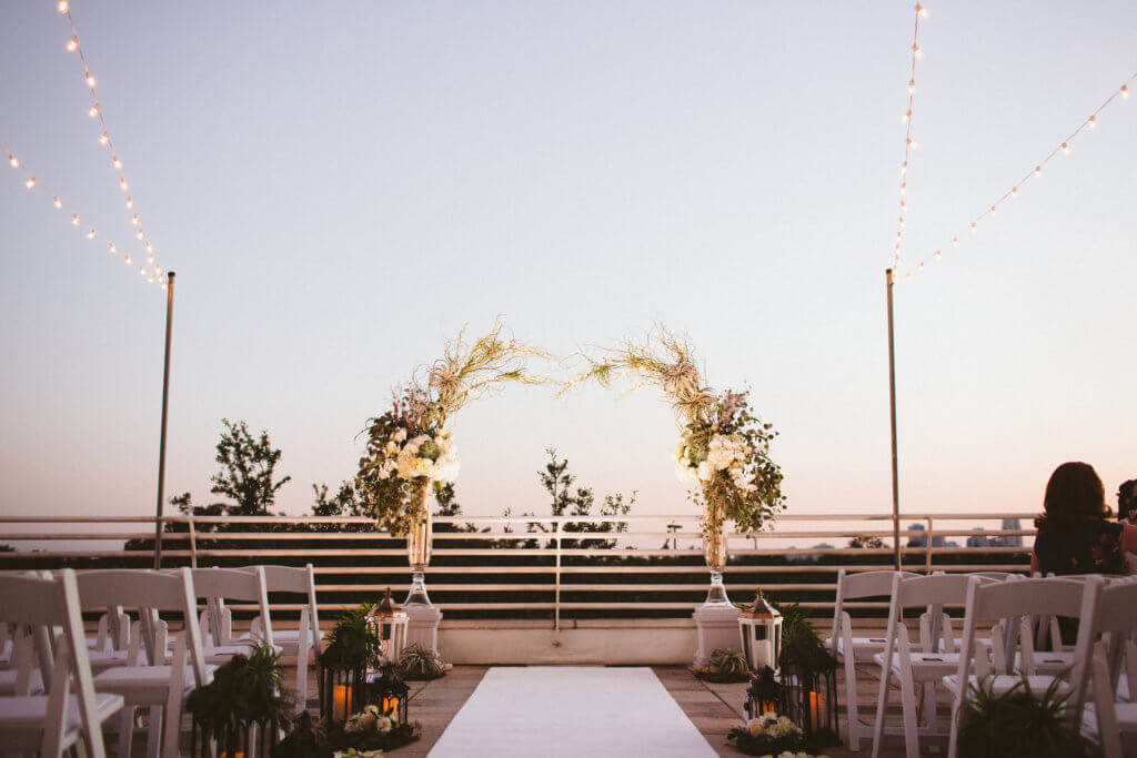 Wedding arch on the terrace