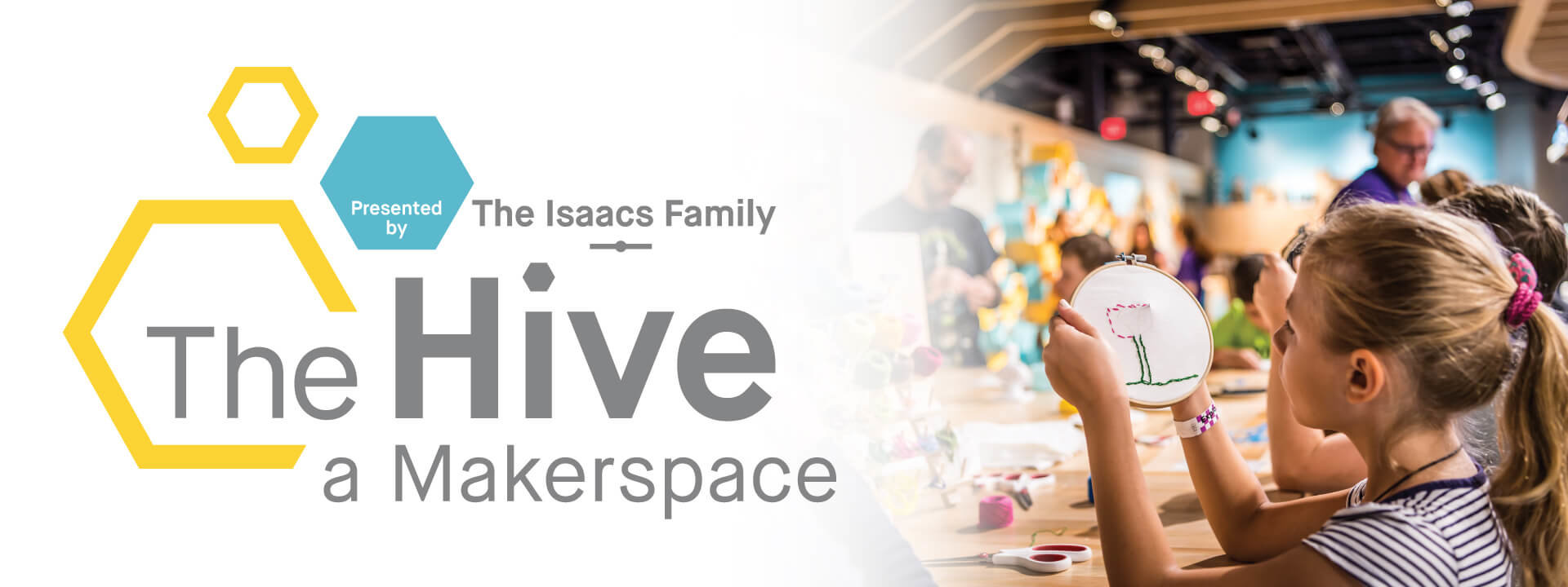 The Hive logo and photo of young girl sewing a craft at a table.