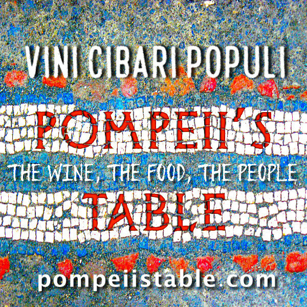 Pompeii's Table on a mosaic background