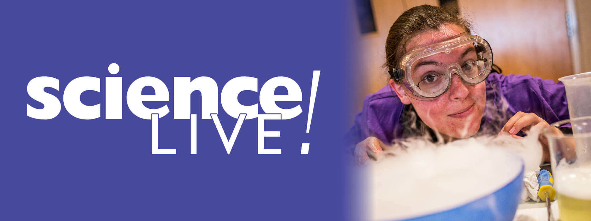 Science Live logo and photo of presenter.