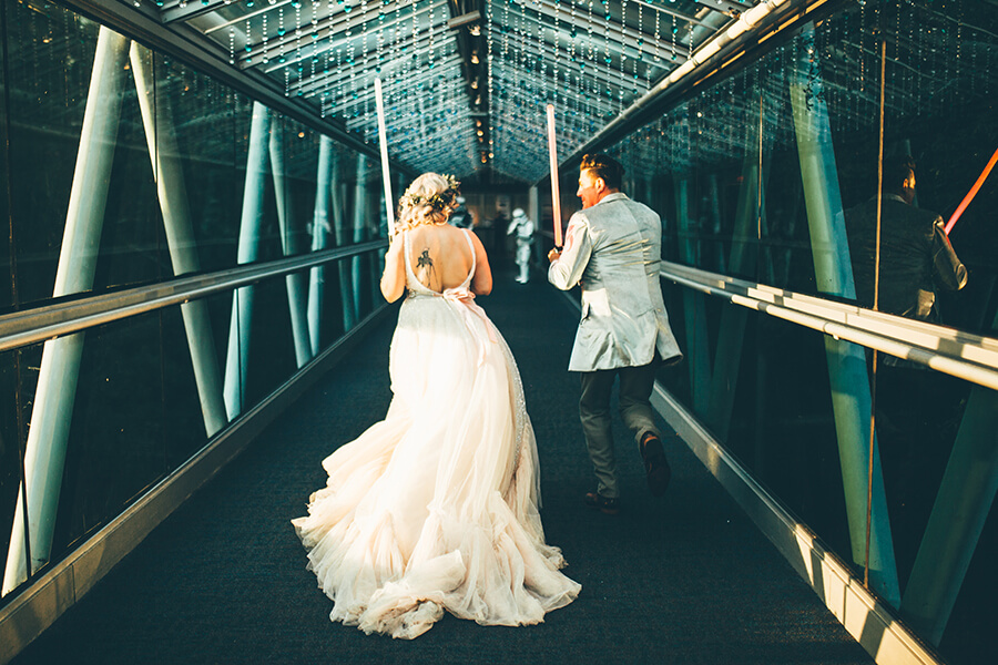 Bride and groom on OSC bridge