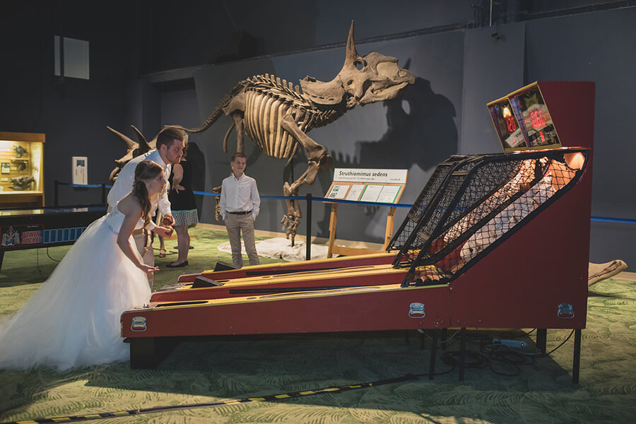 Bride and groom playing skeeball in DinoDigs