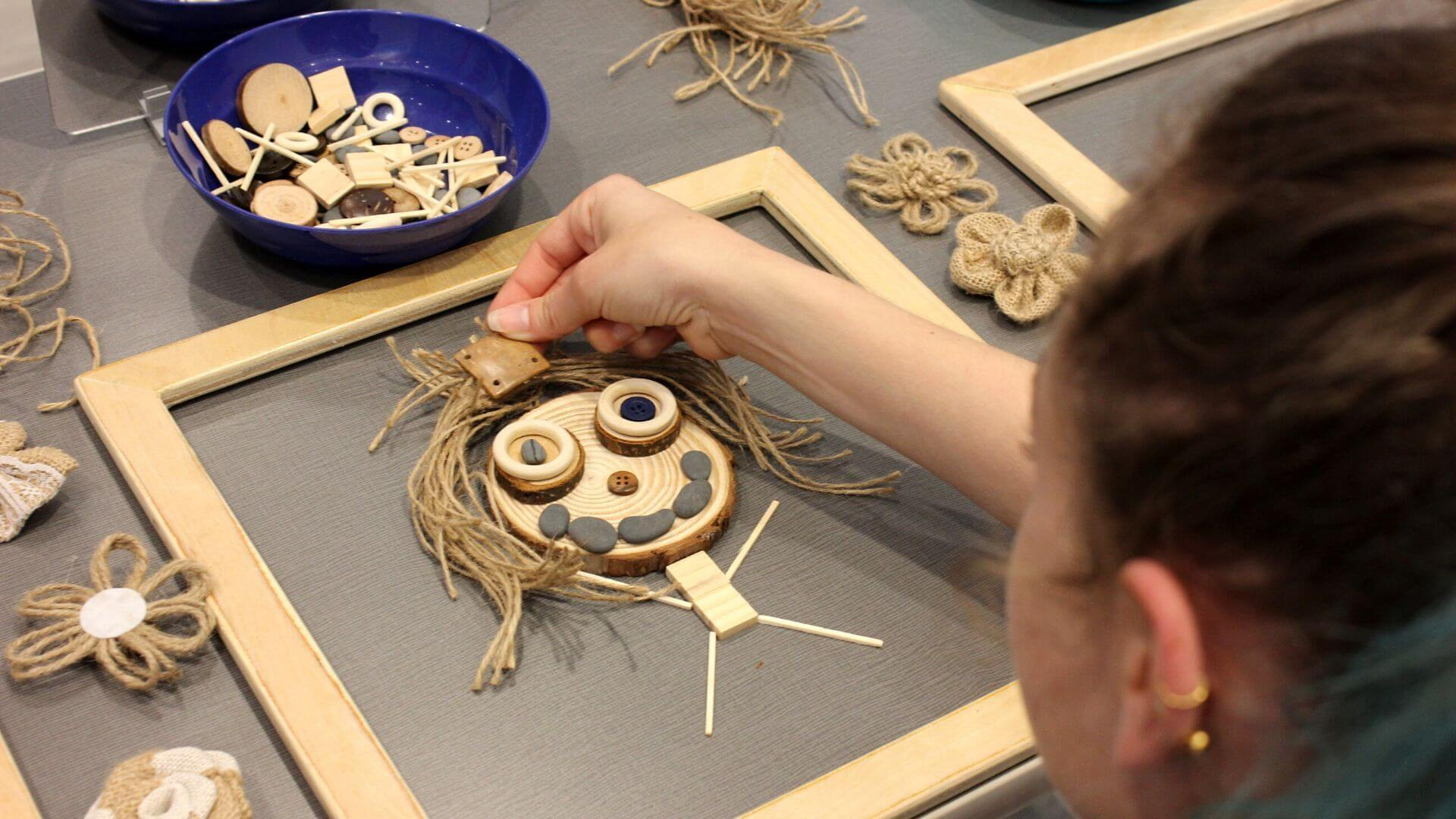 Loose parts play nature portraits kids activity
