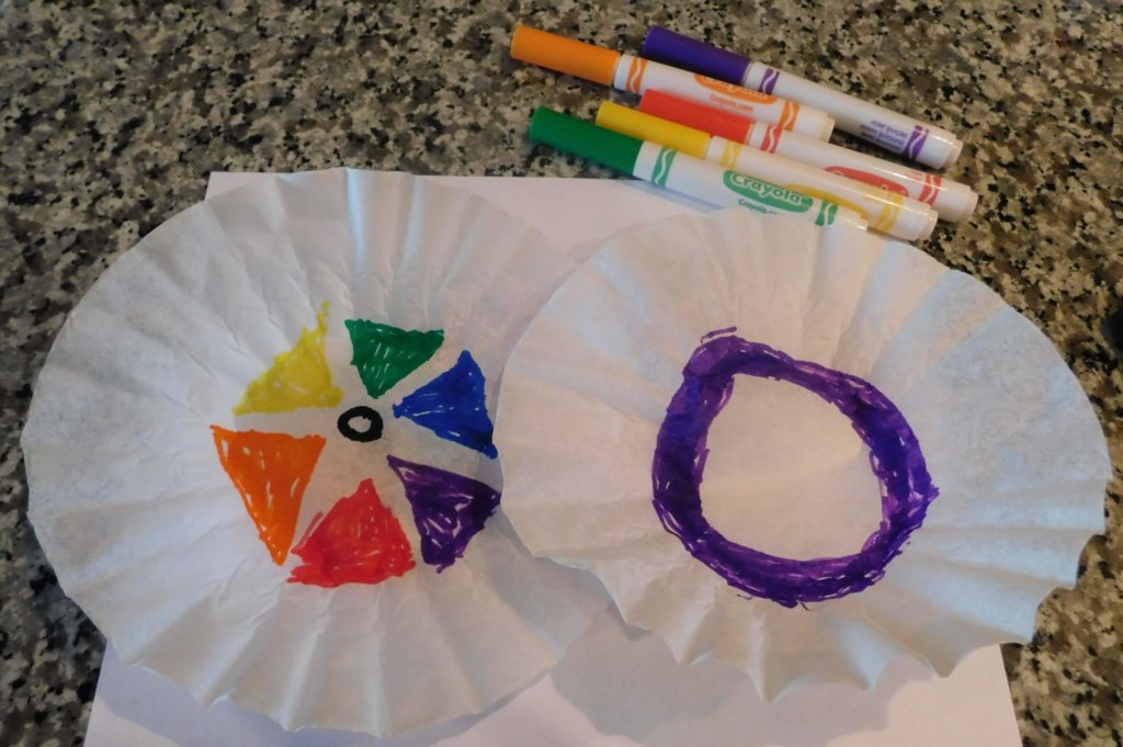 colorful markers patterns drawn on coffee filters