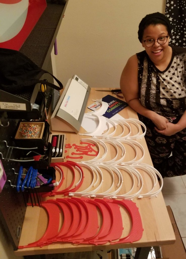 Orange County Library System woman works makes PPE equipment for Orlando Health