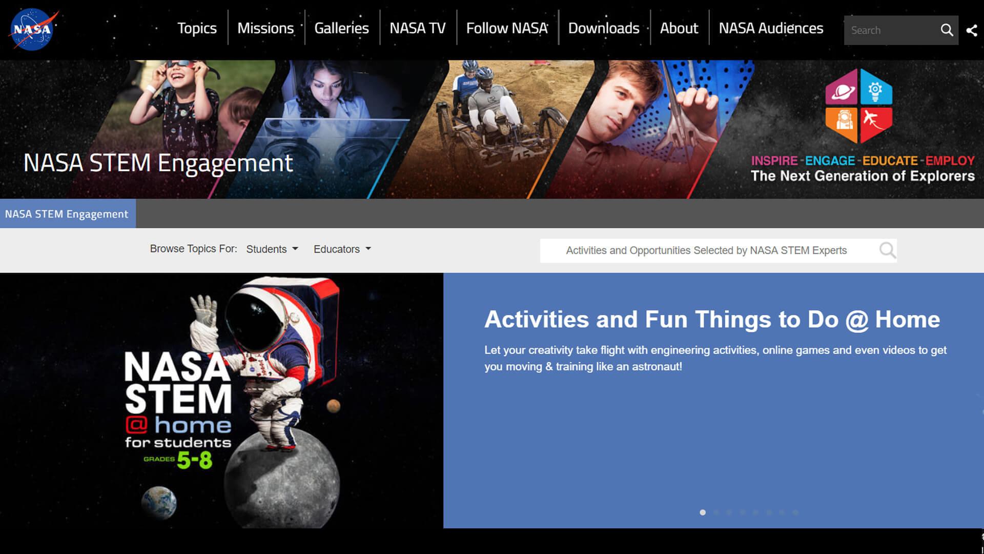 Image of NASA STEM Engagement website