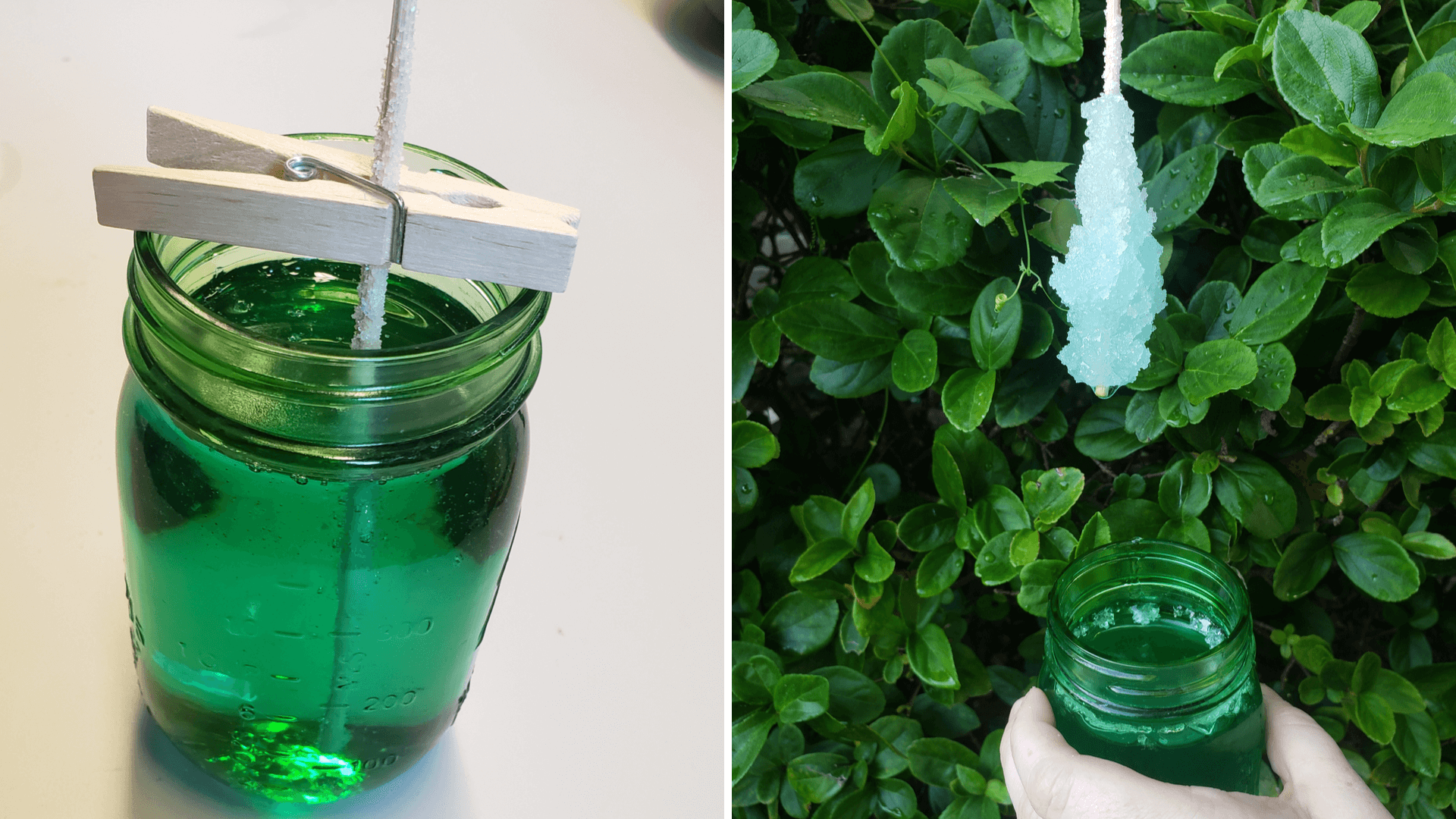 Science experiment to create rock candy