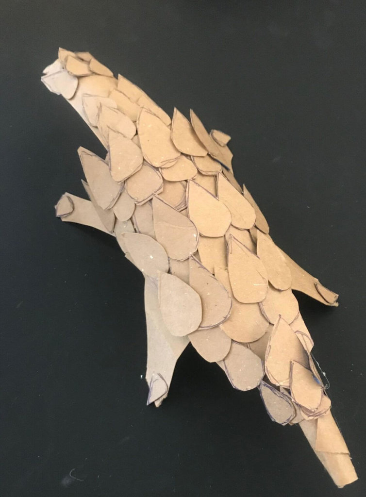 add body structure to body for- Instructions for Cardboard Animals pangolin