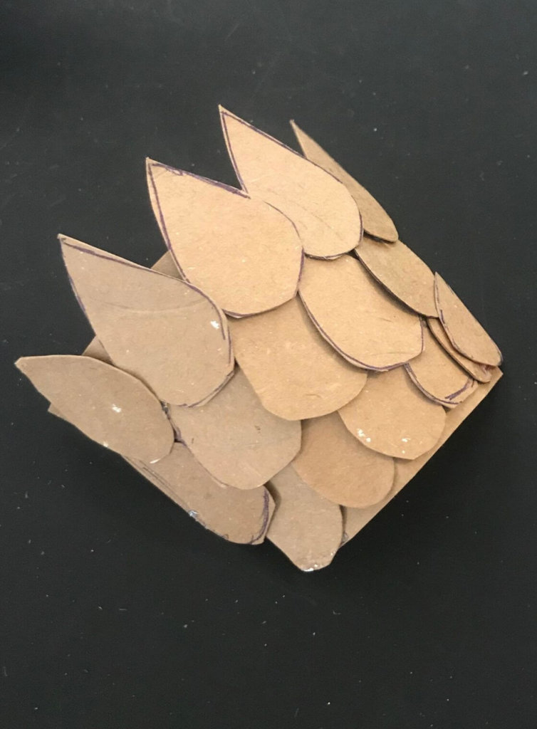add scales to body structure for- Instructions for Cardboard Animals pangolin