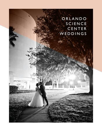 Orlando Science Center Wedding Guide with black and white photo of bride and groom on cover