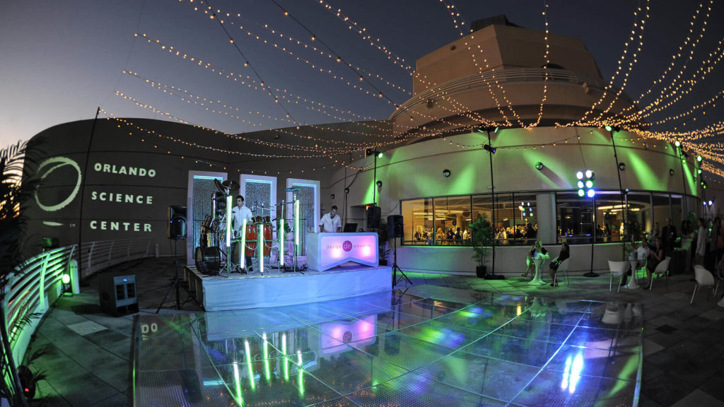 Dance floor and band stage set up on the terrace