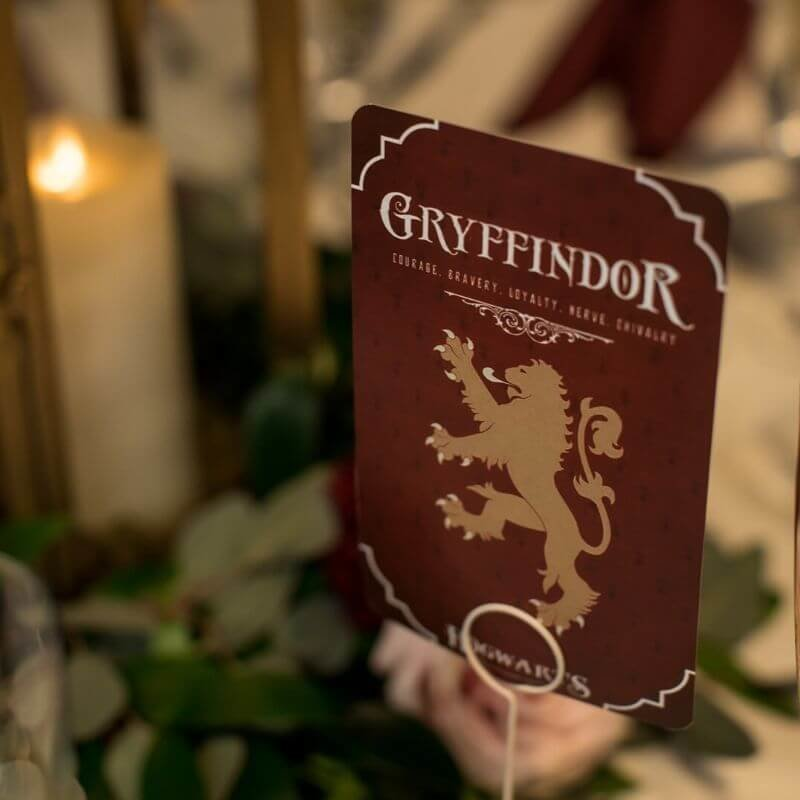 Harry Potter Wedding Details- gryffindor table number