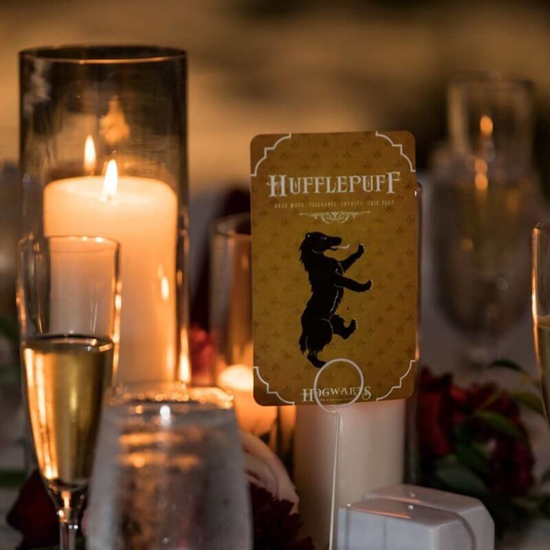 Harry Potter Wedding Details- hufflepuff table number