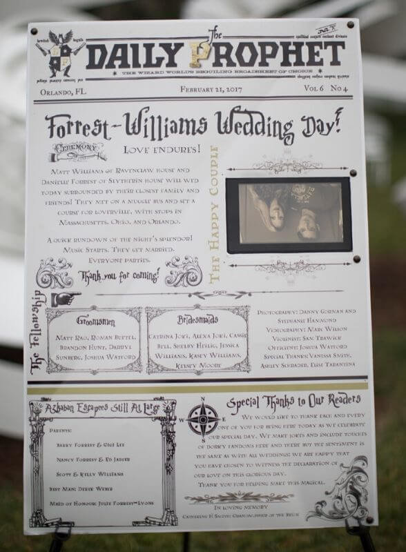Harry Potter Wedding Details- daily prophet wedding program