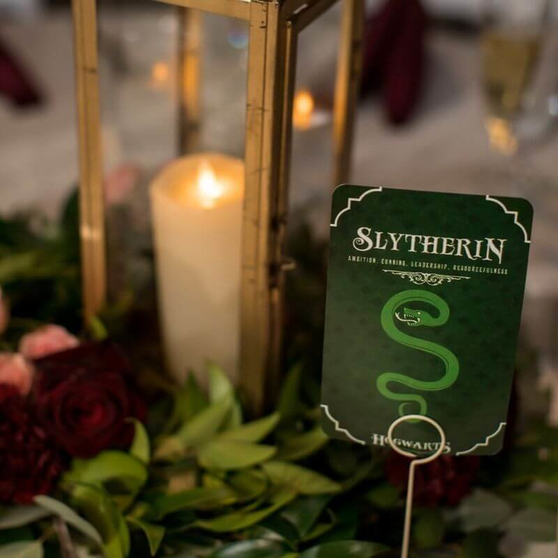 Harry Potter Wedding Details- slytherin table number