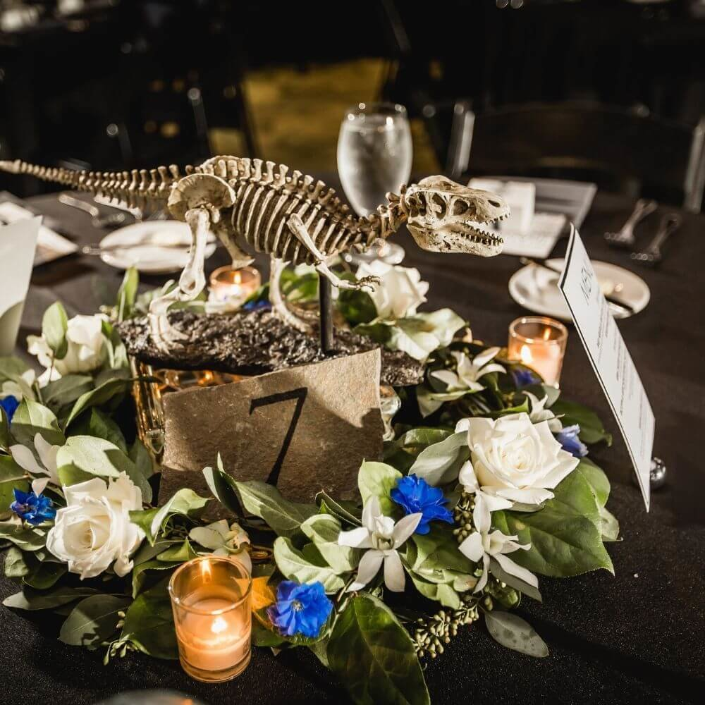 dinosaur wedding- dinosaur table