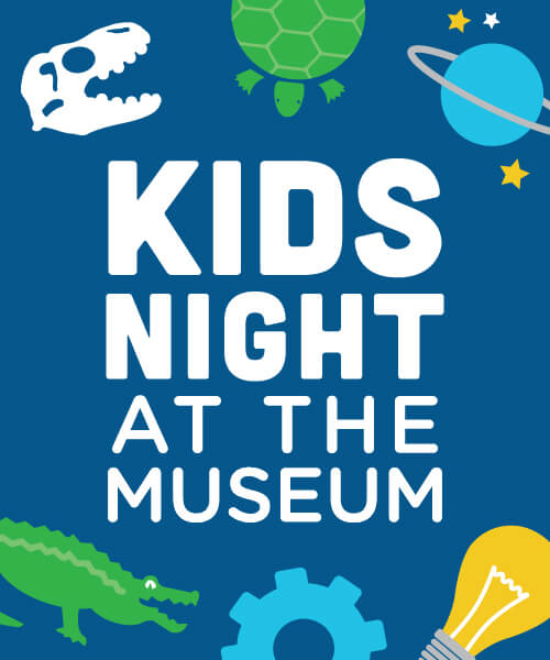 Kids Night at the Museum logo with icons of science topics
