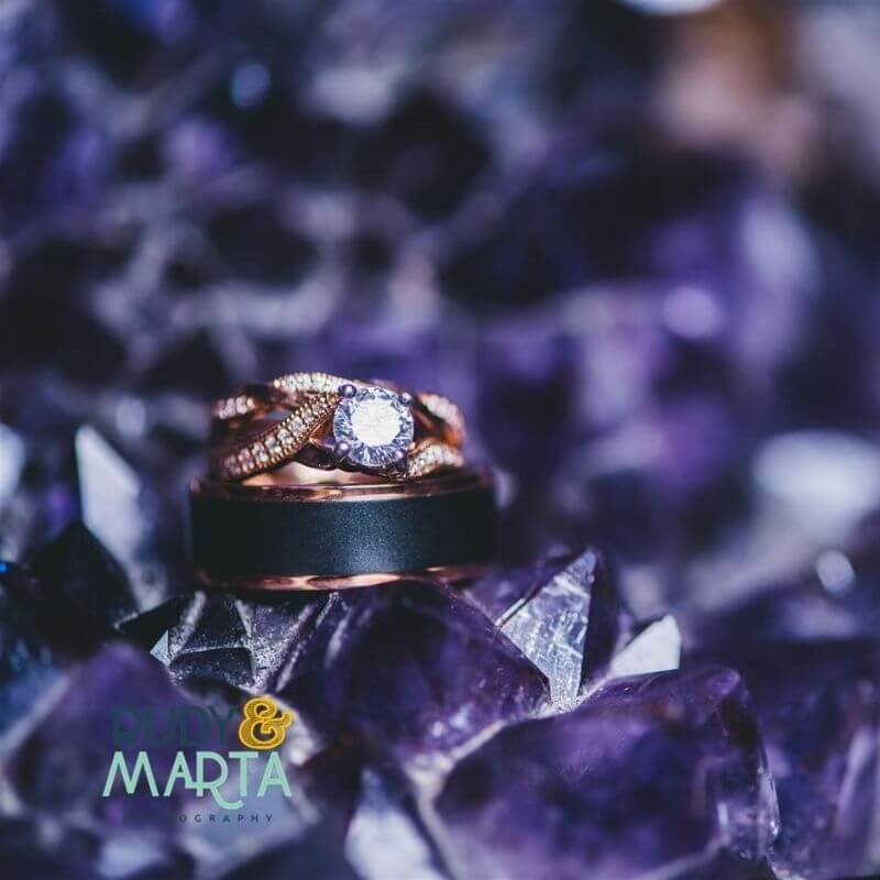 wedding rings on crystals