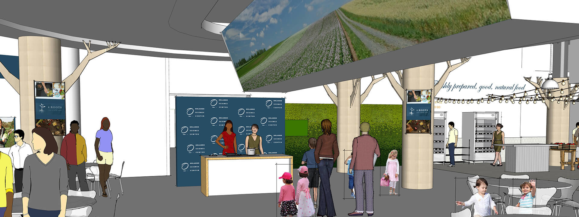 Concept rendering of 4Roots Cafe showing interactive presentation area in middle of cafe.
