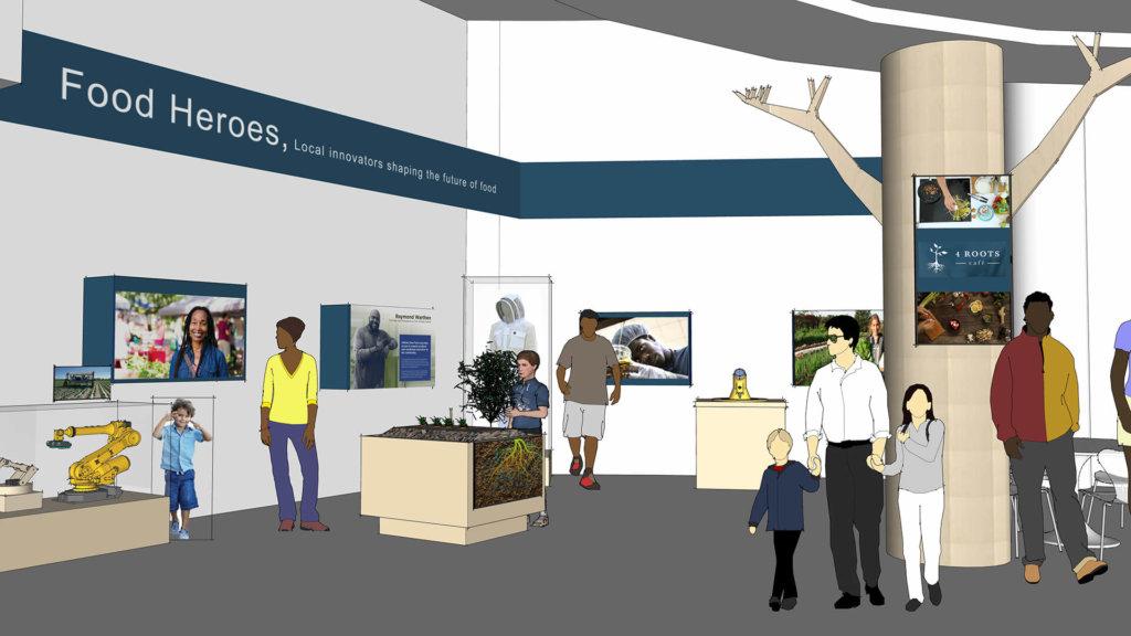 Concept rendering of 4Roots Cafe showing Food Hero interactive exhibit area.