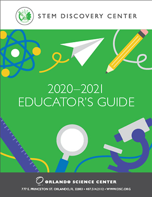 2020-2021 Educator's Guide Cover - illustrations of atom, paper airplane, pencil, ruler, magnifying glass and microscope.