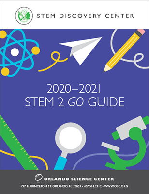 2020-2021 STEM 2 GO Guide Cover - illustrations of atom, paper airplane, pencil, ruler, magnifying glass and microscope.