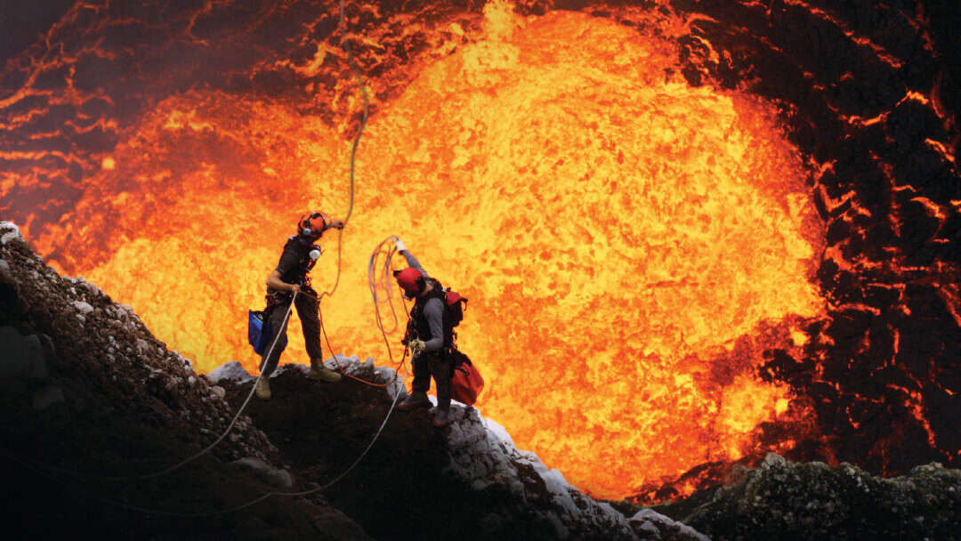 Volcanoes: The Fires of Creation - two volcanologists descend into a volcano.