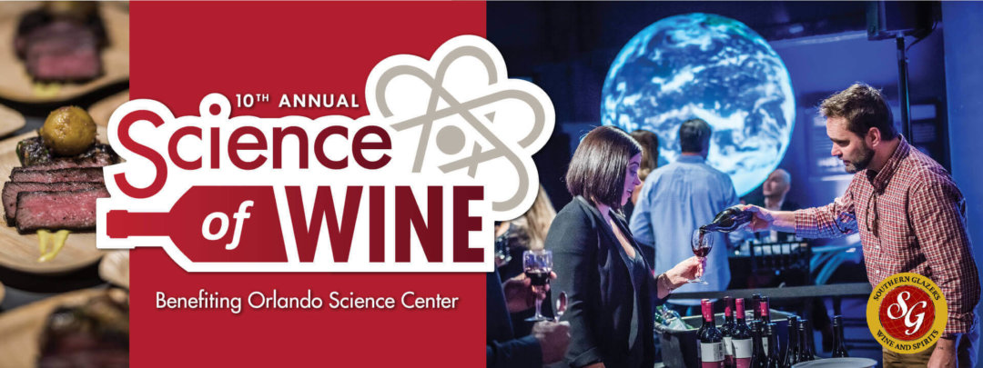 Science of Wine logo and photo of guests enjoying the event.