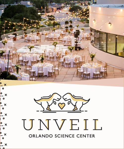 Unveil Wedding Showcase - Logo and photo of many stunning wedding tables set up on The Terrace.