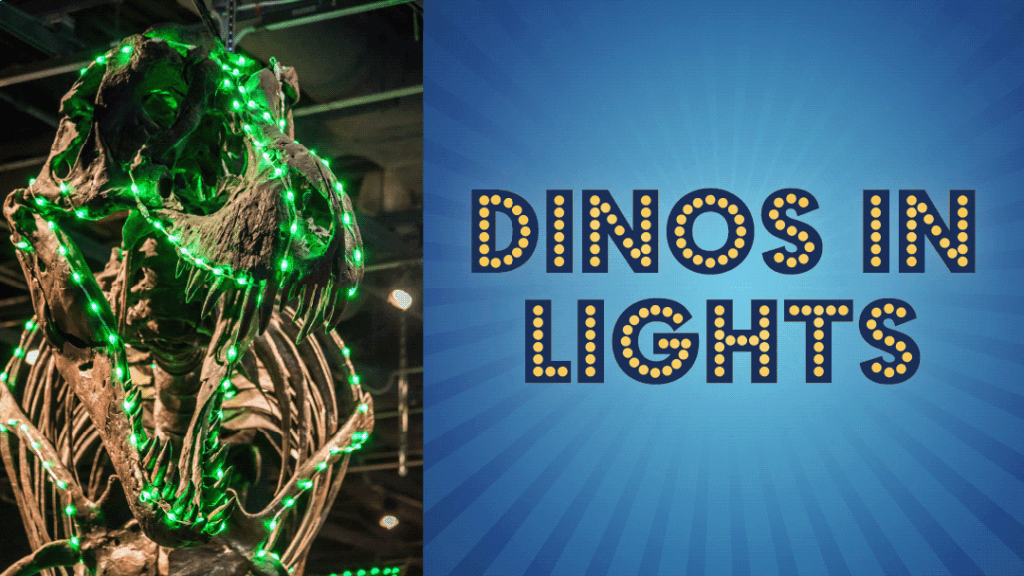 Dinos in Lights with photo of T-rex covered in green lights