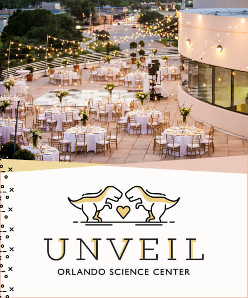 Unveil Wedding Showcase - Logo and photo of many stunning wedding tables set up on The Terrace.