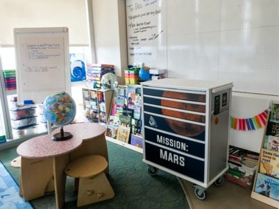 A picture of a NASA-themed classroom